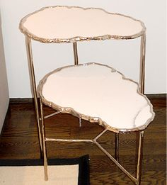 """""""Nuage"""" table by Sophie Lafont. Carrara marble top with gold plated bronze."""
