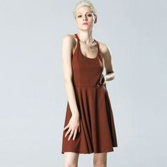 Sexy Women Strap Backless High Waist Solid Pleated Dress Casual Club Wear