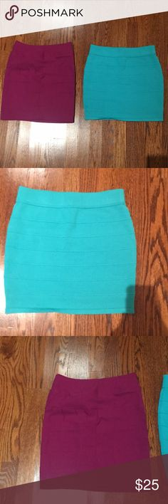 Two pencil skirts Fuchsia and turquoise pencil skirts. Both fit like a small. Fuchsia is sized small and turquoise a medium.  Selling for 25 total Amy Byer Skirts Pencil