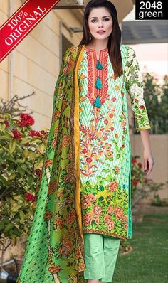 WYFD- 2023 BLUE- Embroidery Designer 3PC Lawn Suit With Chiffon ...