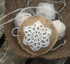 Christmas Tree Ornament in  burlap with  snowflake by HomeDecorLab, $10.00