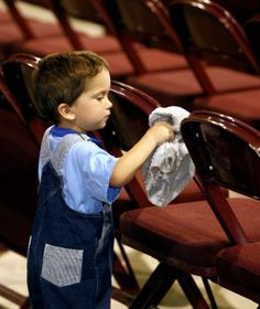 Jehovah's little ones, doing a good job.               Our little ones.... Keeping the Kingdom Halls clean!!      JW.org