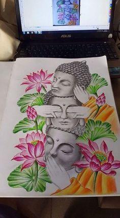 Tattoos Discover Tattoo sleeve ideas for men inspiration art designs 68 trendy Ideas Buddha Tattoo Design, Buddha Tattoos, Buddha Drawing, Doodle Art Drawing, Buddha Painting, Ganesha Painting, Buddha Kunst, Buddha Art, Mandala Design