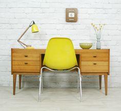 ALFRED COX RETRO VINTAGE TEAK MID CENTURY WALNUT DESK DRESSING TABLE 50s 60s | eBay