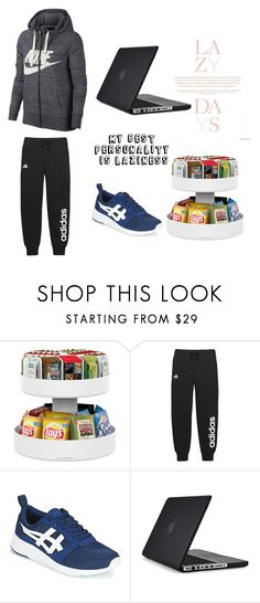 """""""My best Personality Is laziness"""" by whoagirl11 ❤ liked on Polyvore featuring Mind Reader, Lazy Days, adidas, Asics, Speck, NIKE and staycation"""