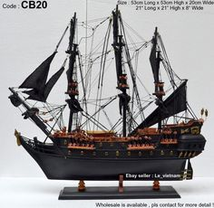"CB20 Black Pearl Caribbean Pirate 21"" Wooden Model Tall SHIP Boat Home Office 