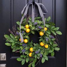 SUMMER WREATHS, Lemons Wreath, Yellow Lemons Wreath, Taste of Summer, Boxwood and Lemons, Summer Door Wreaths, Front Porch Wreaths by twoinspireyou on Etsy https://www.etsy.com/listing/516530736/summer-wreaths-lemons-wreath-yellow