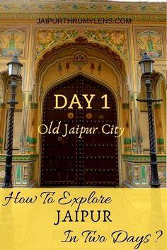 Day 1 of a two-day travel itinerary to exploring Jaipur. A guide to exploring th… Day 1 of a two-day travel itinerary to exploring Jaipur. A guide to exploring the old city area of Jaipur. Hawa Mahal, City Palace, Jantar Mantar, and Jaipur Bazaars. India Travel Guide, Asia Travel, Solo Travel, Jaisalmer, Goa India, Delhi India, India Trip, Jodhpur, Agra
