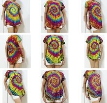 HIPPIE BOHO summer handmade tie dye festival chic tunic crop shirt blouse curved round hem Best Seller follow this link http://shopingayo.space