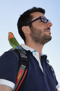 "Travelling with my lovebird ""Leo"" on my Peli backpack in Southern Spain.   Picture by Luca Varcasia - Italy"