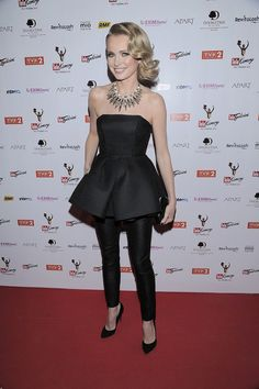 Agnieszka Cegielska wearing Bohoboco corset and pencil pants, Swarovski necklace and Diane vin Furstenberg clutch