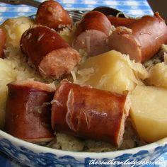 Saurkraut And Sausage, Crockpot Sausage And Potatoes, Kielbasa And Potatoes, Crock Pot Potatoes, Sausage Casserole, Crockpot Dishes, Crockpot Recipes, Cooker Recipes, Mashed Potatoes