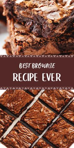 Best Brownie Recipe Ever - Food Recipes Brownie Desserts, Brownie Recipes, Chocolate Recipes, Fun Desserts, Cookie Recipes, Delicious Desserts, Chocolate Chips, Classic Desserts, Brownie Cookies