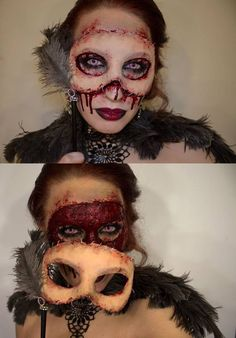 love this idea for a peeled face Masquerade mask Halloween makeup & costume