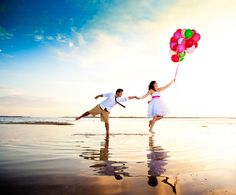 Love the idea of ballons, instead of rice or bubbles, and this is a great way to get the bride and groom involved!