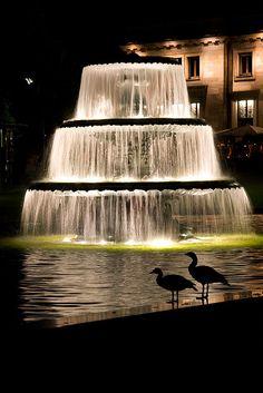 Brunnen am Kurhaus Beautiful Waterfalls, Beautiful Landscapes, Beautiful Gardens, Water Lighting, Dream City, Landscape Lighting, Dark Beauty, Hotel Spa, Water Features