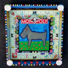 """Monopoly Dog"" a mixed media wood assemblage by Tracey Ann Finley What is your favorite Monopoly Token?"