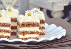 Prajitura fina cu foi de nuca Romanian Desserts, Romanian Food, Romanian Recipes, Cake Recipes, Dessert Recipes, Just Cakes, Vegan Kitchen, Dessert Drinks, Food Cakes