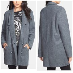"""Leith elongated lapel coat Purchased from Nordstrom : Elongated lapels and a loose, relaxed fit lend menswear inspiration to a cozy, carefree coat. 33"""" length (for size Medium). Front button closure. Unlined. Front pockets. 55% acrylic, 45% cotton. Hand wash cold. By Leith; imported. Savvy. Leith Sweaters"""