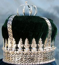 Imperial State Mens King Rhinestone Silver and Emerald Green Crown