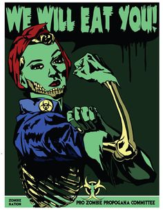 (via x 11 Inch Rosie The Riveting Zombie Graphic by MattPepplerArt) Zombie Pin Up, Zombie Girl, Zombie Crawl, Halloween Quotes, Halloween Horror, Halloween 2020, Zombie Vampire, Dead Zombie, Rockabilly Art