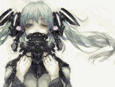anime   art   black   dark   gas mask   girl   horror   illustration   mask   monochrome