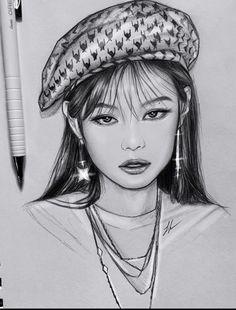 Cute Couple Drawings, Kpop Drawings, Anime Drawings Sketches, Art Drawings Sketches Simple, Kawaii Drawings, Pink Drawing, Pencil Portrait Drawing, Art Drawings Beautiful, Art Inspiration Drawing