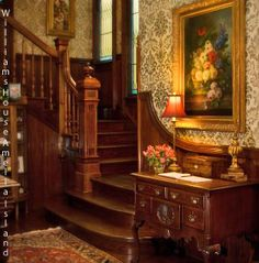Ideas For House Victorian Interior Stairs Victorian Home Decor, Victorian Interiors, Victorian Furniture, Victorian Architecture, Victorian Homes, Victorian Era, Victorian Stairs, Vintage Homes, Wainscoting Hallway