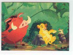 Simba, Pumba, and Timon singing trading card
