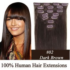 """15"""" 7pcs set Clip-in hair remy Human Hair Extensions #02,shop at www.costwe.com"""
