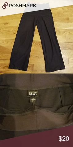 """Eileen Fisher pants Size is PP, wide leg with an inseam of 32"""". Waist is elastic and 29"""" when laid flat. I'm a size 6 and they fit. Color is charcoal. Eileen Fisher Pants Wide Leg"""
