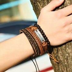 Multi PCS Mixed Wrap Leather Wristbands Bracelets and Wood Beads Weave Bracelet Set for Men Women Adjustable Beads Braided Leather Friendship Charm Bracelet for Men, Woven Bracelets, Ankle Bracelets, Bracelets For Men, Fashion Bracelets, Leather Bracelets, Bangles, Charm Bracelets, Link Bracelets, Fashion Jewelry