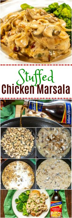 This Stuffed Chicken Marsala recipe is made with chicken breasts stuffed with Italian cheese, sun-dried tomatoes, basil, green onions, & a Marsala sauce. Chicken Tomato Sauce Recipe, Chicken Recipes, Baked Chicken Breast, Chicken Breasts, Marsala Recipe, Italian Cheese, Chicken Marsala, Dinners, Diners