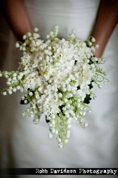 Perfect & Petite Teardrop/Shield Bouquet Of Lily Of The Valley, White Stephanotis & White Lilac••••