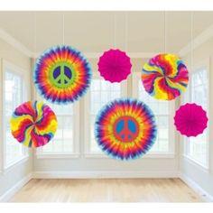 Feeling Groovy Paper Fan Decorations