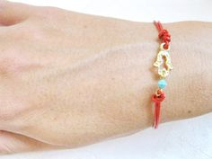 Red Leather Bracelet with Hamsa Gold plated hamsa by saragalstudio, $28.00