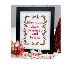 Merry Christmas Cross Stitch Pattern Instant by tinymodernist, $6.00