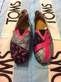 Custom Hand Painted Breast Cancer Toms by BekasBargains on Etsy, $105.00
