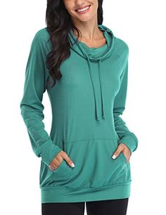Discounted SeSe Code Gym Shirts for Women, Ladies Long Sleeve Jersey Cowl Neck Workout Yoga Gym Loose Fit Stretchy Thin Pullover Hoodie Sweatshirt with Kangaroos Pocket Dark Cyan X-Large #LadiesLongSleeveJerseyCowlNeckWorkoutYogaGymLooseFitStretchyThinPulloverHoodieSweatshirtwithKangaroosPocketDarkCyanX-Large #SeSeCodeGymShirtsforWomen Sweatshirt Tunic, Pullover, Yoga Gym, Branded Shirts, Gym Shirts, Hoodies, Sweatshirts, Casual Tops, Cowl Neck