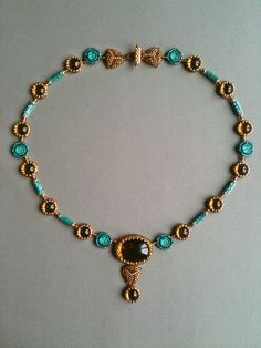 Amber & Aqua Circle and Triangle Necklace.  Seed bead woven, bead embroidery by Jeka Lambert.  Vintage glass cabochons, glass beads, 24K gold plated beads, seed beads.