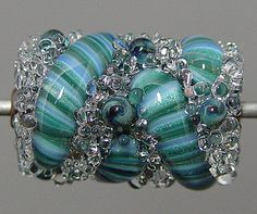 Blue Teal Green Lampwork  Focal Bead  SALE