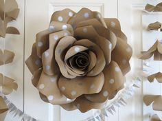 KRAFT POLKA DOT giant paper wall rose - wall art paper sculpture - Flower Taxidermy No.43