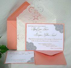 Wedding Invitation Unique Elegant Coral Peach by AllThingsAngelas