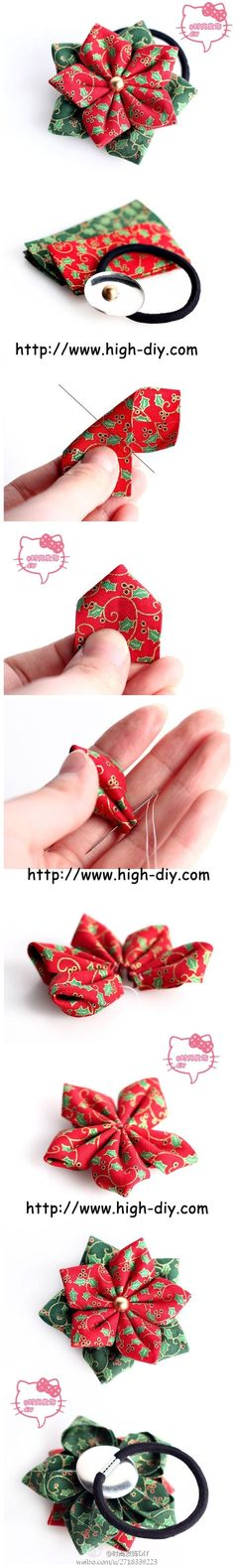 [Chinese] Kanzashi-like flower hair band. I can't understand the text, but the photo tutorial is quite straight-forward! Folded Fabric Ornaments, Quilted Ornaments, Xmas Ornaments, Christmas Sewing, Christmas Projects, Holiday Crafts, Christmas Crafts, Christmas Fabric, Ribbon Crafts