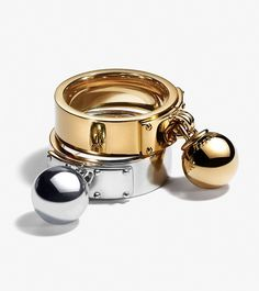 Tiffany HardWear ball dangle rings in 18k gold and sterling silver.