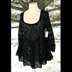 "Selling this ""Free People black lace Peplum babydoll top NWT XS"" in my Poshmark closet! My username is: richbororiches. #shopmycloset #poshmark #fashion #shopping #style #forsale #Free People #Tops"