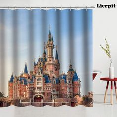 Shop for Shower Curtain Castle Building,. Get free delivery On EVERYTHING* Overstock - Your Online Shower Curtains & Accessories Store! Dye Curtains, Curtain Fabric, Pillow Top Mattress, Foam Mattress, Disney Shower Curtain, Shower Curtains, Fresh Image, Satin Sheets, Buy Bed