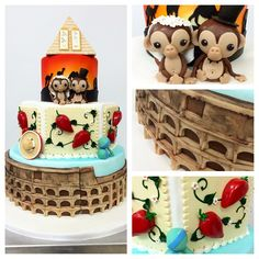 A 3-tier inspired by the travels of these newlyweds! #carlosbakery