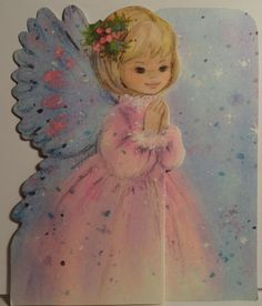 1960s Pink Angel Vintage  Christmas Card