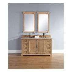 Providence 60 Natural Oak Double Vanity with Stone Top